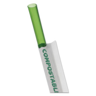 "WRAPPED STRAW, 7.75"", GREEN, 9600/CARTON"