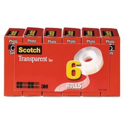 "TRANSPARENT TAPE, 1"" CORE, 0.75"" X 36 YDS, TRANSPARENT, 6/PACK"