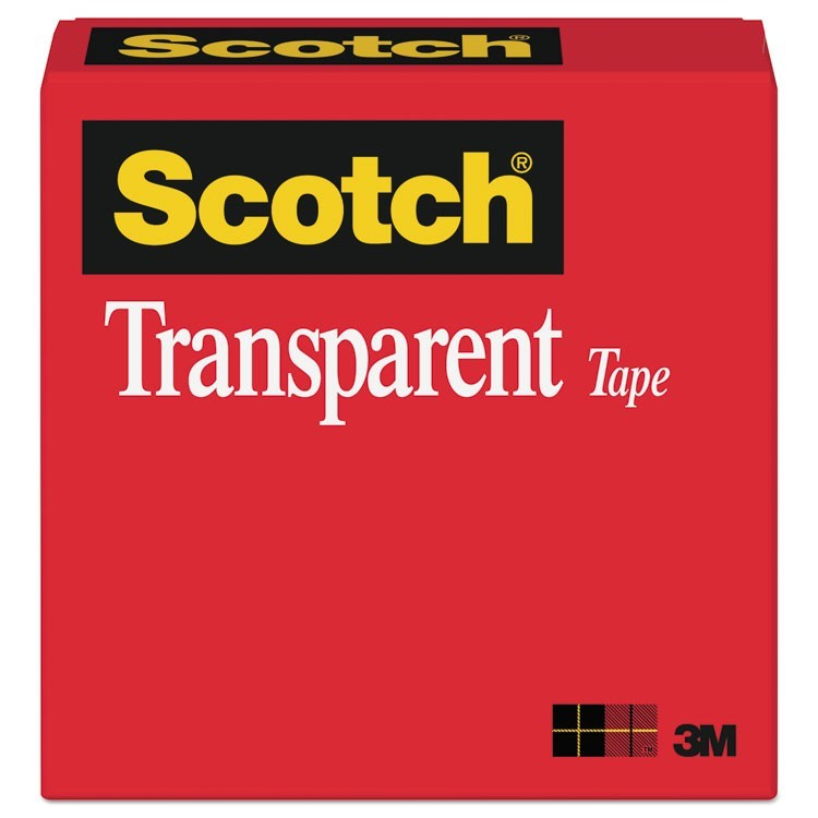 "TRANSPARENT TAPE, 3"" CORE, 1"" X 72 YDS, TRANSPARENT"