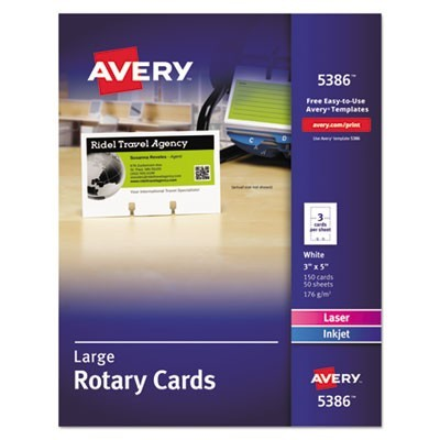 Large Rotary Cards, Laser/inkjet, 3 X 5, 3 Cards/sheet, 150 Cards/box