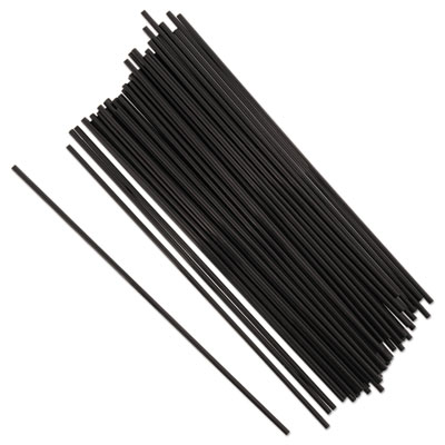 "SIP STRAWS, 7.5"", BLACK, 10000/CARTON"