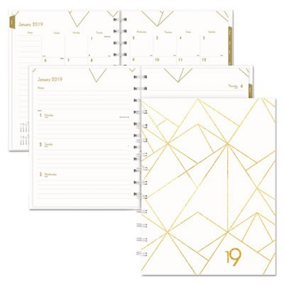 GOLD COLLECTION WEEKLY/MONTHLY PLANNER, 11 X 9 3/5, WHITE AND GOLD, 2019