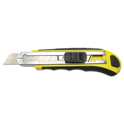 RUBBER-GRIPPED RETRACTABLE SNAP BLADE KNIFE, STRAIGHT-EDGED, BLACK/YELLOW