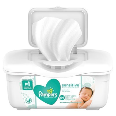 Sensitive Baby Wipes, White, Cotton, Unscented, 64/tub, 8 Tub/carton