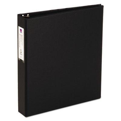 "ECONOMY NON-VIEW BINDER WITH ROUND RINGS, 3 RINGS, 1.5"" CAPACITY, 11 X 8.5, BLACK"