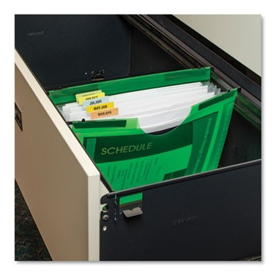 "EXPANDING FILE W/ HANGING TABS, 0.75"" EXPANSION, 7 SECTIONS, LETTER SIZE, GREEN"