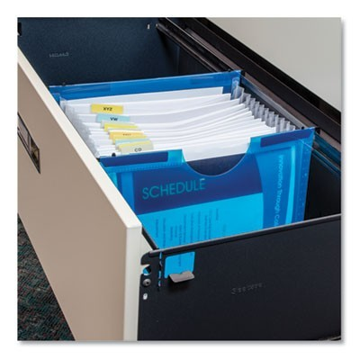 "EXPANDING FILE W/ HANGING TABS, 1"" EXPANSION, 13 SECTIONS, LETTER SIZE, BLUE"