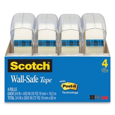 "WALL-SAFE TAPE WITH DISPENSER, 1"" CORE, 0.75"" X 54.17 FT, CLEAR"