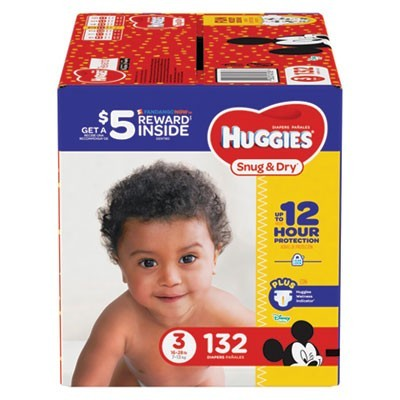 SNUG AND DRY DIAPERS, SIZE 3, 16 LBS TO 28 LBS, 132/PACK
