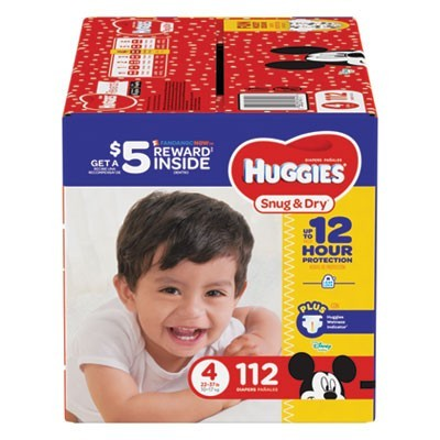 SNUG AND DRY DIAPERS, SIZE 4, 22 LBS TO 37 LBS, 112/PACK