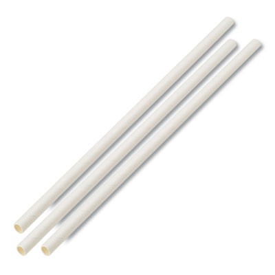 "UNWRAPPED PAPER STRAWS, 7 3/4"" X 1/4"" WHITE, 4800 STRAWS/CARTON"