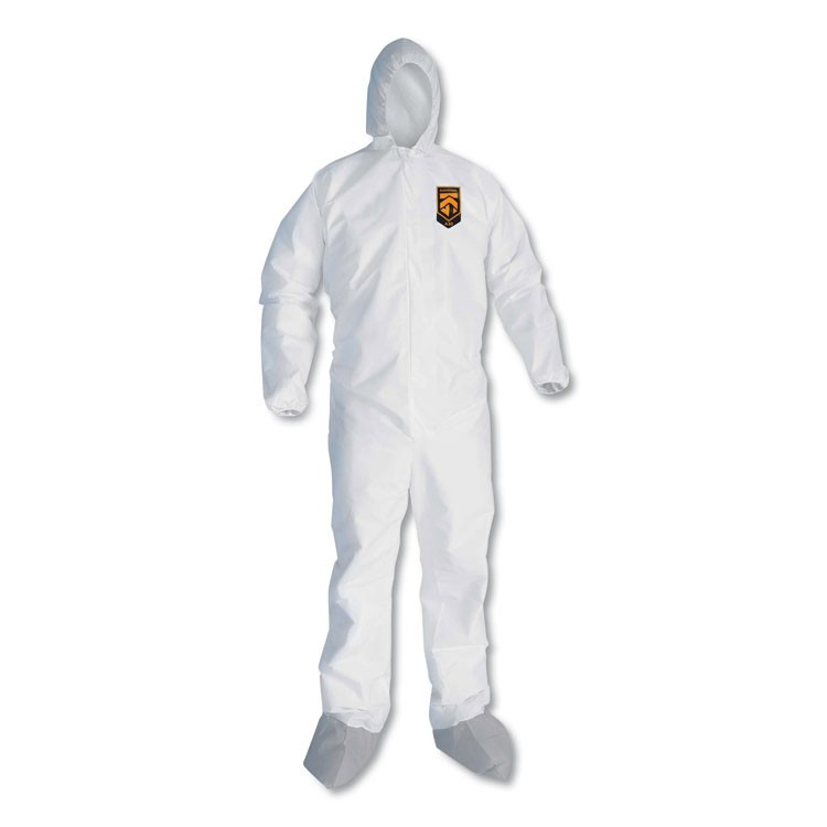 A30 BREATHABLE SPLASH AND PARTICLE PROTECTION COVERALLS, LARGE, WHITE, 25/CARTON