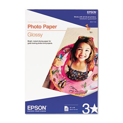 GLOSSY PHOTO PAPER, 9.4 MIL, 13 X 19, GLOSSY WHITE, 20/PACK