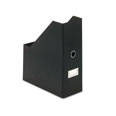 Heavy-Duty Fiberboard Magazine File With Pvc Laminate, 4 1/2 X 11 X 13, Black