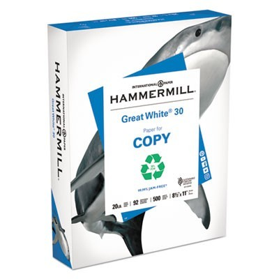 GREAT WHITE 30 RECYCLED PRINT PAPER, 92 BRIGHT, 20LB, 8.5 X 11, WHITE, 500 SHEETS/REAM, 10 REAMS/CARTON