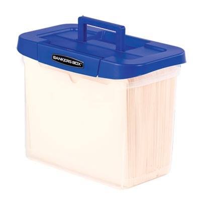"HEAVY-DUTY PORTABLE FILE BOX, LETTER FILES, 14.25"" X 8.63"" X 11.06"", CLEAR/BLUE"
