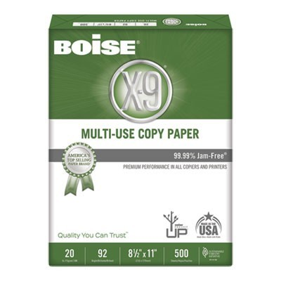 X-9 MULTI-USE COPY PAPER, 92 BRIGHT, 20LB, 8.5 X 11, WHITE, 500 SHEETS/REAM, 10 REAMS/CARTON