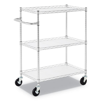 3-SHELF WIRE CART WITH LINERS, 34.5W X 18D X 40H, SILVER, 600-LB CAPACITY