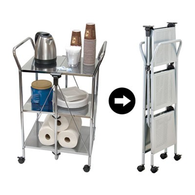 CLICK-N-FOLD DUAL HANDLE SERVICE CART, 18.31W X 23.63D X 36.63H, CHROME