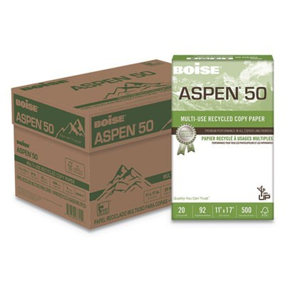 ASPEN 50 MULTI-USE RECYCLED PAPER, 96 BRIGHT, 20LB, 11 X 17, WHITE, 500 SHEETS/REAM, 5 REAMS/CARTON