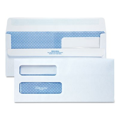 DOUBLE WINDOW REDI-SEAL SECURITY-TINTED ENVELOPE, #10, COMMERCIAL FLAP, REDI-SEAL CLOSURE, 4.13 X 9.5, WHITE, 500/BOX