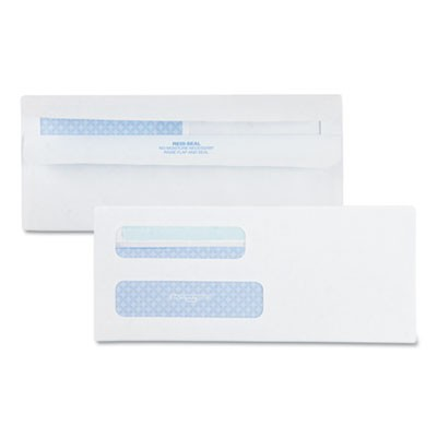 DOUBLE WINDOW REDI-SEAL SECURITY-TINTED ENVELOPE, #8 5/8, COMMERCIAL FLAP, REDI-SEAL CLOSURE, 3.63 X 8.63, WHITE, 500/BOX
