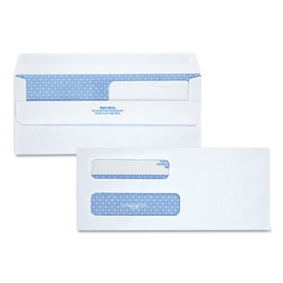 DOUBLE WINDOW REDI-SEAL SECURITY-TINTED ENVELOPE, #8 5/8, COMMERCIAL FLAP, REDI-SEAL CLOSURE, 3.63 X 8.63, WHITE, 250/CARTON