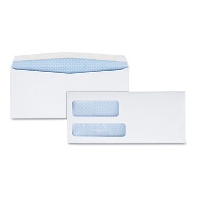 DOUBLE WINDOW SECURITY-TINTED CHECK ENVELOPE, #8 5/8, COMMERCIAL FLAP, GUMMED CLOSURE, 3.63 X 8.63, WHITE, 1,000/BOX