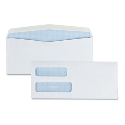 DOUBLE WINDOW SECURITY-TINTED CHECK ENVELOPE, #10, COMMERCIAL FLAP, GUMMED CLOSURE, 4.13 X 9.5, WHITE, 500/BOX