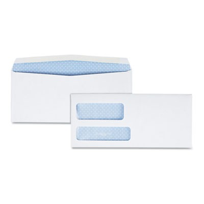 DOUBLE WINDOW SECURITY-TINTED CHECK ENVELOPE, #9, COMMERCIAL FLAP, GUMMED CLOSURE, 3.88 X 8.88, WHITE, 500/BOX
