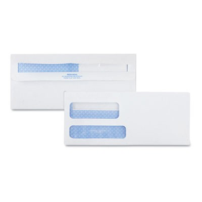 DOUBLE WINDOW REDI-SEAL SECURITY-TINTED ENVELOPE, #9, COMMERCIAL FLAP, REDI-SEAL CLOSURE, 3.88 X 8.88, WHITE, 500/BOX