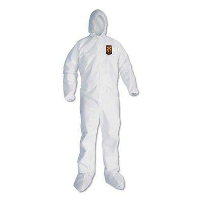 A30 Hood And Boots Splash/particle Protection Coverall, 6x-Large, White, 21/ctn