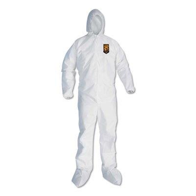 A30 Hood And Boots Splash/particle Protection Coverall, 5x-Large, White, 25/ctn