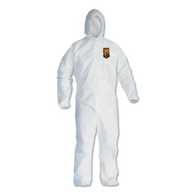 A40 Elastic-Cuff And Ankles Hooded Coveralls, 5x-Large, White, 25/carton
