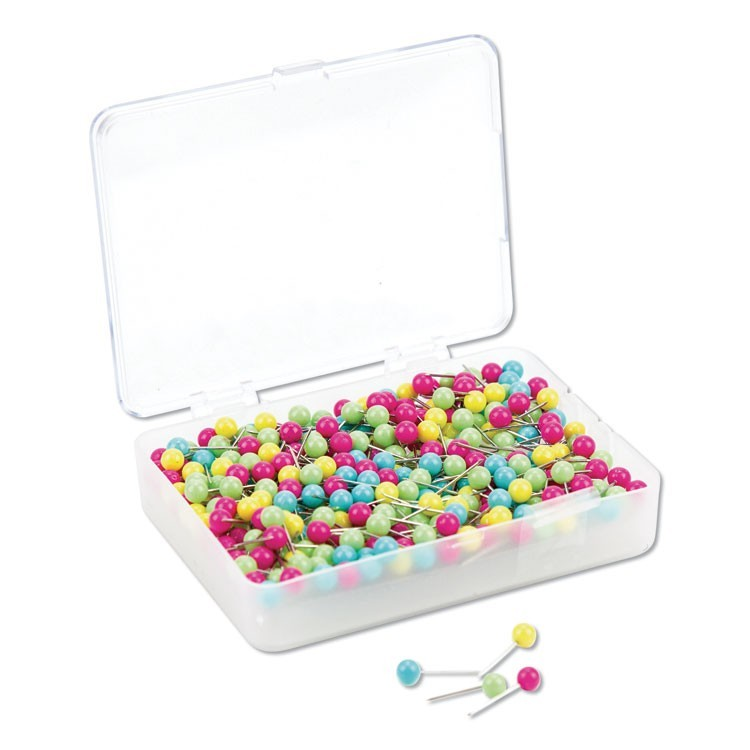 "MAP PUSH PINS, PLASTIC, ASSORTED, 1/2"", 300/PACK"
