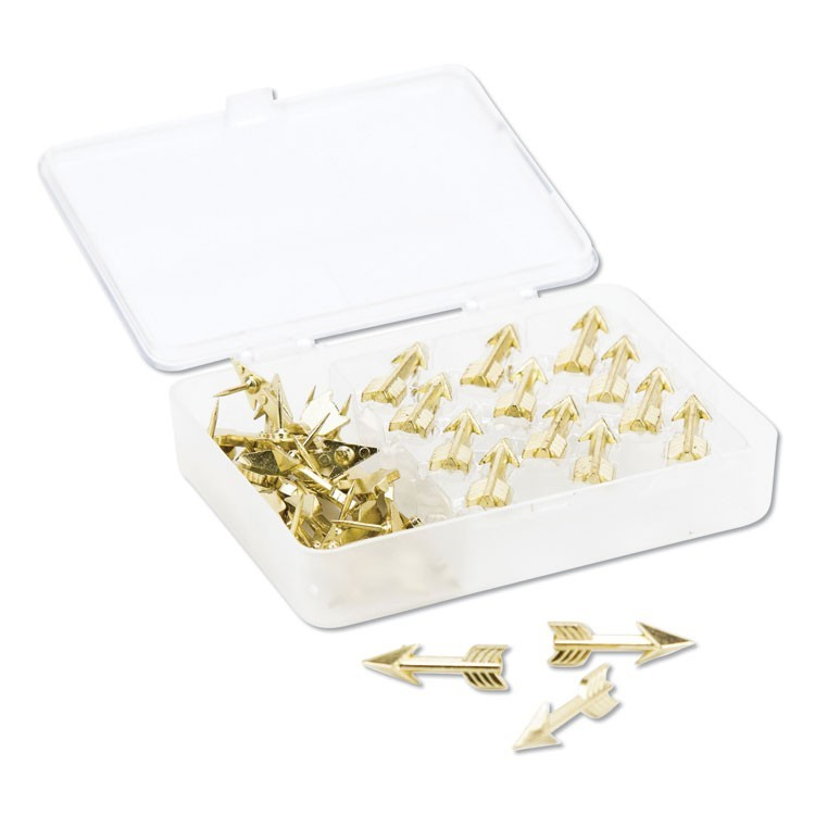 "FASHION PUSH PINS, STEEL, GOLD, 3/8"", 36/PACK"