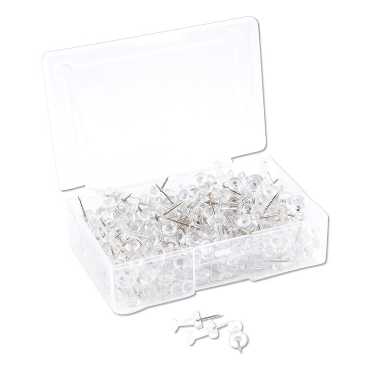 "STANDARD PUSH PINS, PLASTIC, CLEAR, SILVER PIN, 7/16"", 200/PACK"