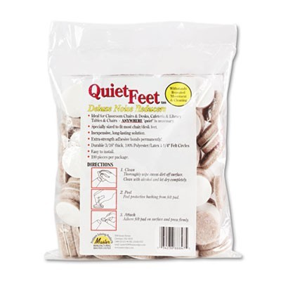 "QUIET FEET DELUXE NOISE REDUCERS, 1.25"" DIA, CIRCULAR, BEIGE, 100/PACK"