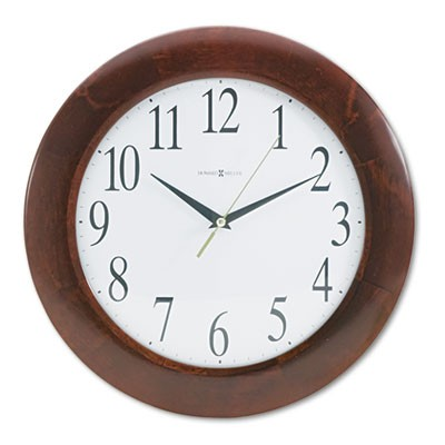 "CORPORATE WALL CLOCK, 12.75"" OVERALL DIAMETER, CHERRY CASE, 1 AA (SOLD SEPARATELY)"