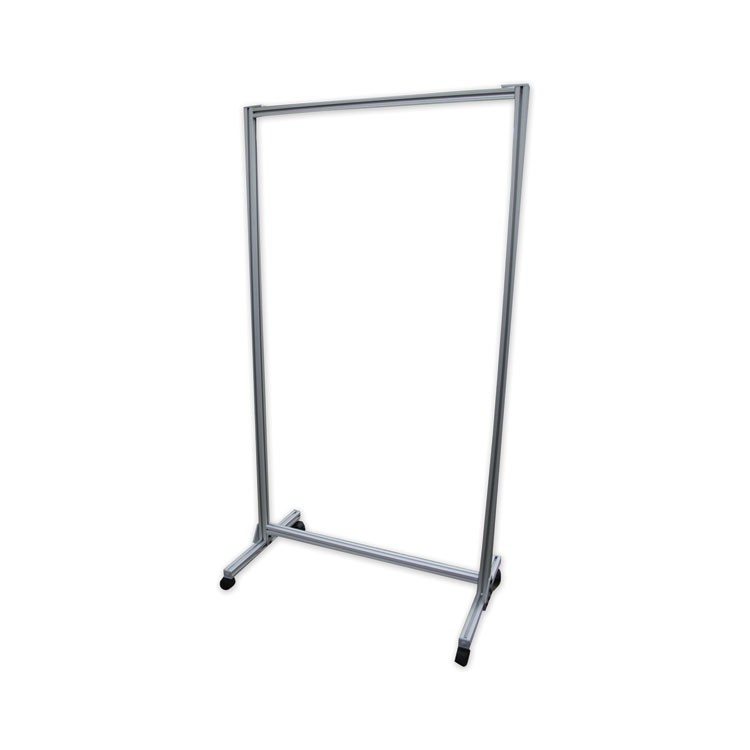 "ACRYLIC MOBILE DIVIDER WITH THERMOMETER ACCESS CUTOUT, 38.5"" X 23.75"" X 74.19"", CLEAR"