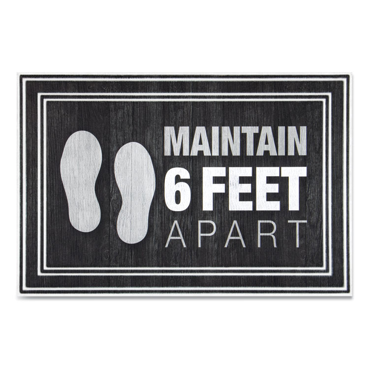 "MESSAGE FLOOR MATS, 24 X 36, CHARCOAL, ""MAINTAIN 6 FEET APART"""