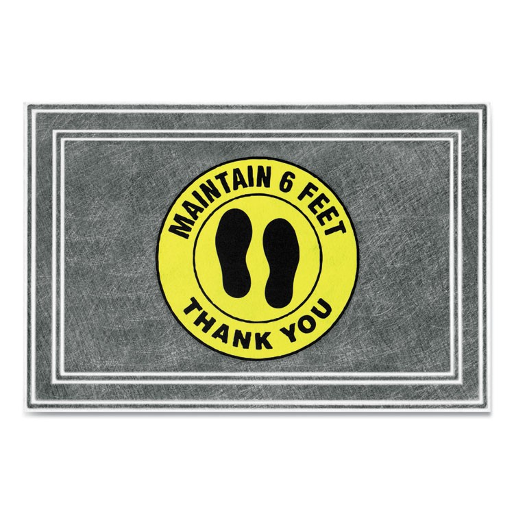 "MESSAGE FLOOR MATS, 24 X 36, CHARCOAL/YELLOW, ""MAINTAIN 6 FEET THANK YOU"""