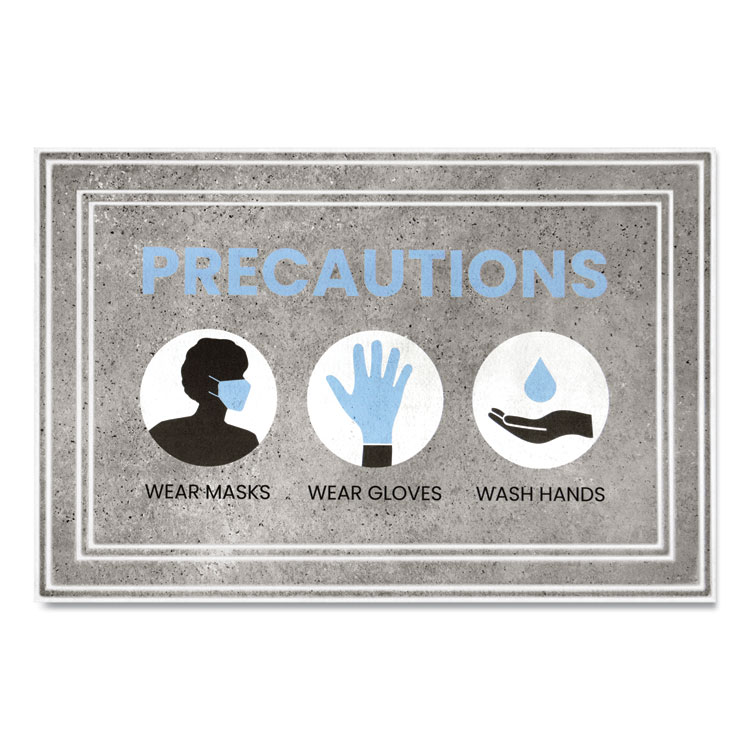 "MESSAGE FLOOR MATS, 24 X 36, GRAY/BLUE, ""PRECAUTIONS WEAR MASKS WEAR GLOVES WASH HANDS"""