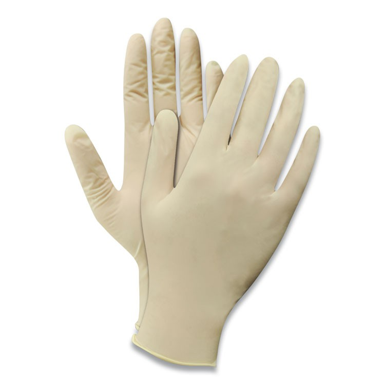 POWDERED DISPOSABLE LATEX GLOVES, NATURAL WHITE, LARGE, 100/BOX