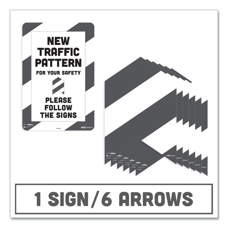 BESAFE CARPET DECALS, NEW TRAFFIC PATTERN FOR YOUR SAFETY; PLEASE FOLLOW THE SIGNS, 12 X 18, WHITE/GRAY, 7/PACK