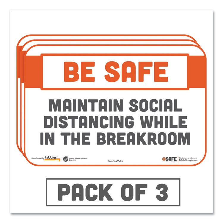BESAFE MESSAGING REPOSITIONABLE WALL/DOOR SIGNS, 9 X 6, MAINTAIN SOCIAL DISTANCING WHILE IN THE BREAKROOM, WHITE, 3/PACK