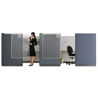 Workstation Privacy Screen, 36w X 48d, Translucent Clear/silver