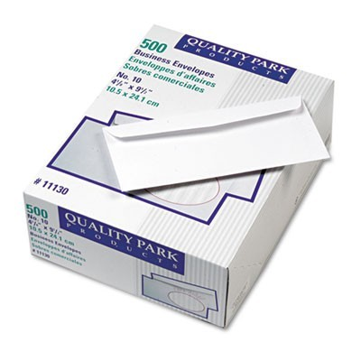 PARK RIDGE EMBOSSED EXECUTIVE ENVELOPE, #10, COMMERCIAL FLAP, GUMMED CLOSURE, 4.13 X 9.5, WHITE, 500/BOX