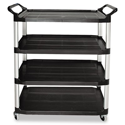 OPEN SIDED UTILITY CART, FOUR-SHELF, 40.63W X 20D X 51H, BLACK