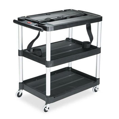 MEDIAMASTER THREE-SHELF AV CART, 18.63W X 32.5D X 32.13H, BLACK
